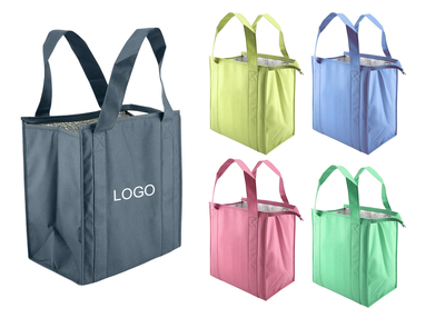 "13 "" x 15 "" x 10 "" Insulated Thermo Grocery Cooler Bag With Zipper"