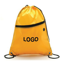 Drawstring Backpack With Zippered Pocket And Earbud Hole