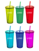 Custom Logo Double Wall Tumbler With Straw