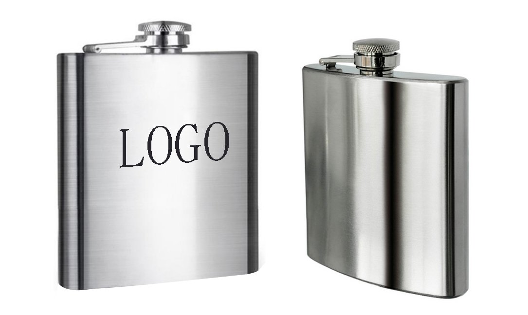 Print 8 oz Stainless Steel Portable Flask