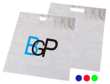 Promotional Custom Logo Recyclable Die Cut Plastic Carrier Grab Tote Bag